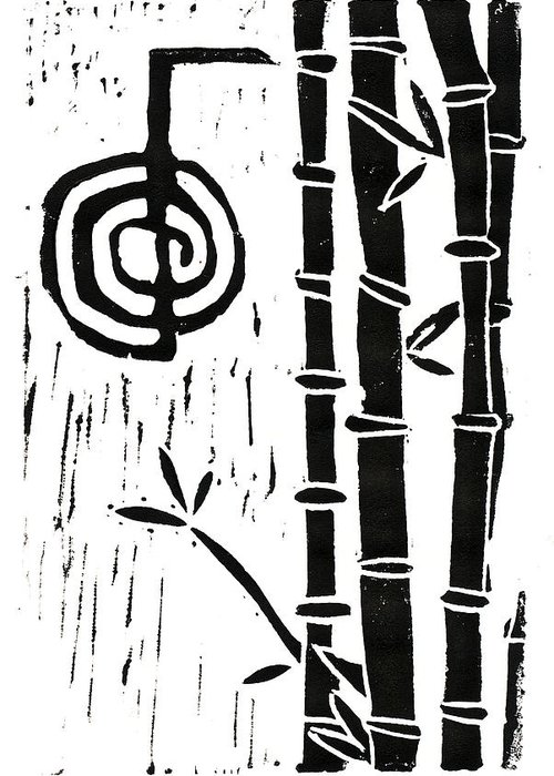Lino Cut Greeting Card featuring the relief Cho Ku Rei And Bamboo by Lynn-Marie Gildersleeve