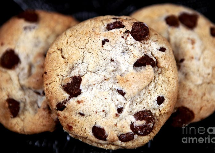 Chocolate Chip Cookies Greeting Card featuring the photograph Chocolate Chip Cookies by John Rizzuto