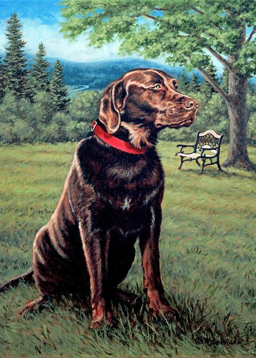 Chocolate Lab Greeting Card featuring the painting Chocolate Lab by Richard De Wolfe