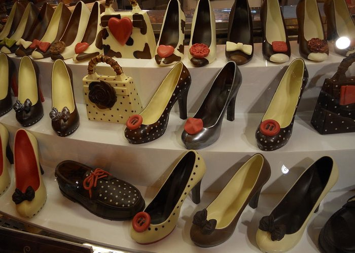 Chocolate Shoes Greeting Card featuring the photograph Chocolate Shoes In Milan by Dotti Hannum