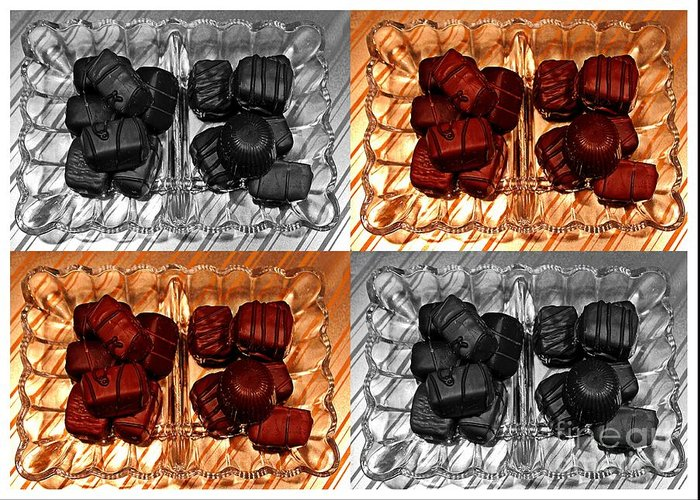 Chocolates Greeting Card featuring the ceramic art Chocolates by Barbara Griffin