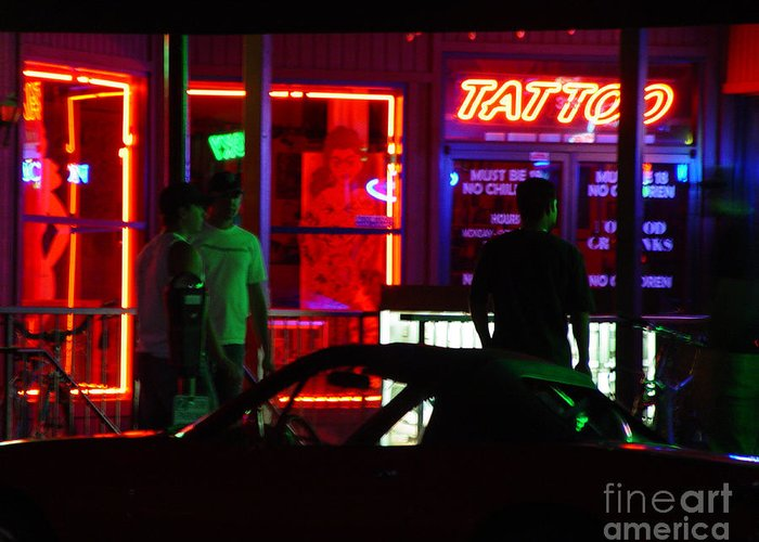Neon Lights Greeting Card featuring the photograph Choices After Midnight by Peter Piatt