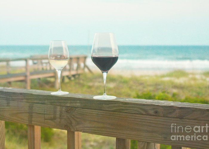 Wine Greeting Card featuring the photograph Choices At The Beach by Kay Pickens