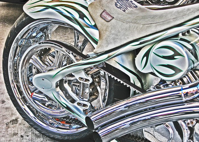 Chopper Belt Drive Detail Greeting Card featuring the photograph Chopper Belt Drive Detail by Samuel Sheats