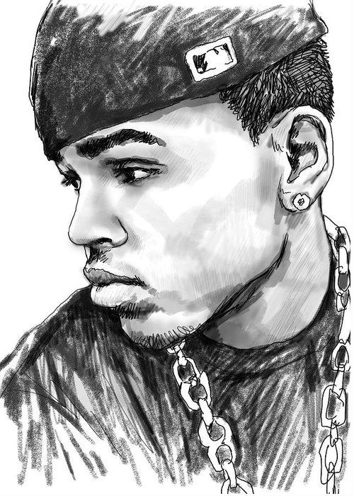 Chris Brown Art Drawing Sketch Portrait Greeting Card featuring the drawing Chris Brown Art Drawing Sketch Portrait by Kim Wang
