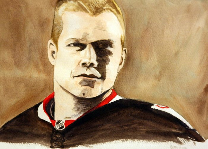 Nhl Greeting Card featuring the painting Chris Neil by Betty-Anne McDonald