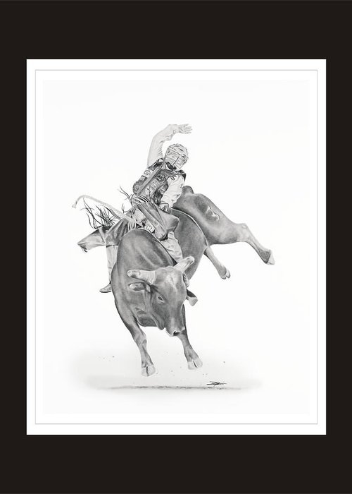 Bull Riding Greeting Card featuring the drawing Chris Shivers by Don Medina