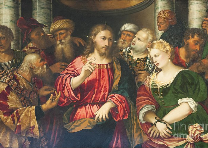 Corsini Greeting Card featuring the photograph Christ And The Adulteress By Rocco Marconi by Roberto Morgenthaler