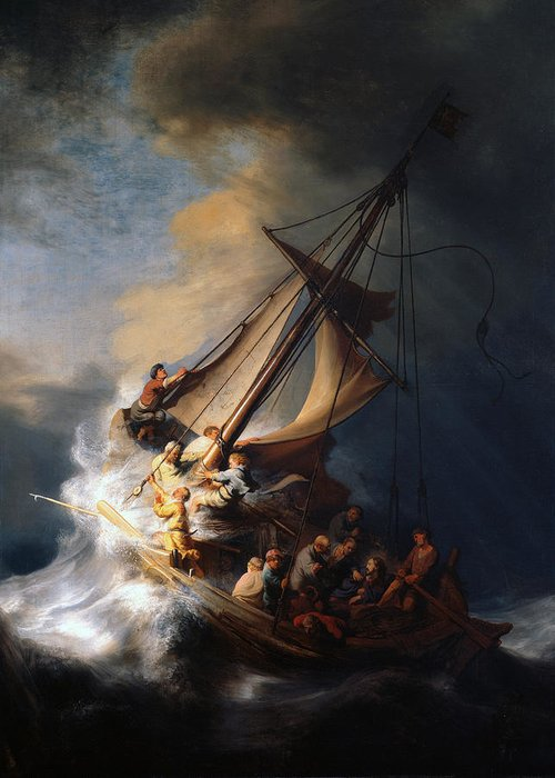 Christ In Storm Rembrandt Greeting Cards