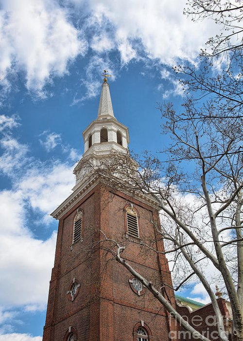Philadelphia Greeting Card featuring the photograph Christ Church Steeple by Kay Pickens