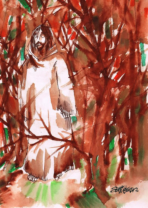Christ In The Garden Greeting Card featuring the painting Christ in the Forest by Seth Weaver