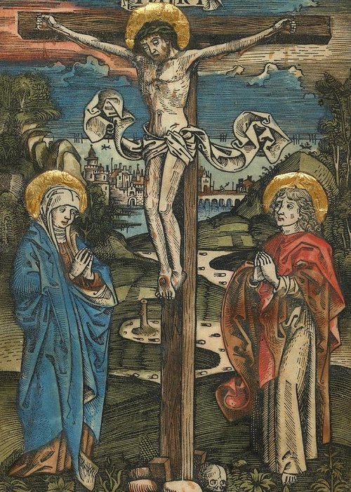 Jesus Greeting Card featuring the painting Christ On The Cross With Mary And Saint John by German School