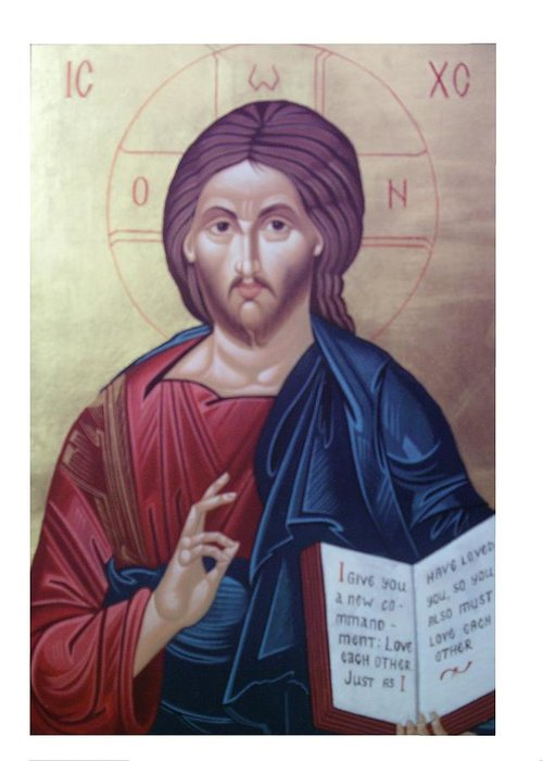 Christ Greeting Card featuring the painting Christ Pantocrator-byzantine Icon by Janeta Todorova