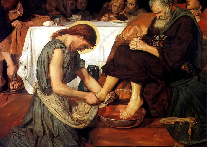 Christ Washing Peter's Feet Greeting Card featuring the painting Christ Washing Peter's Feet by Ford Madox Brown