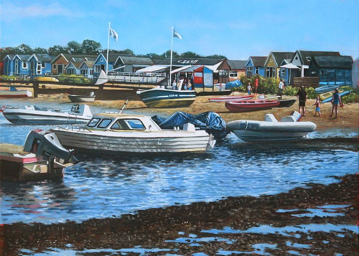 Christchurch Greeting Card featuring the painting Christchurch Hengistbury Head Beach With Boats by Martin Davey