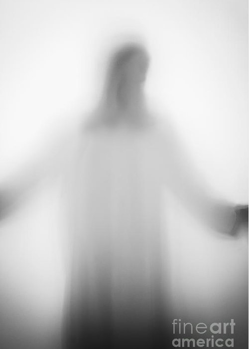 Silhouette; Jesus; Christ; Jesus Christ; Cross; Person; Faceless; Shadow; White; Prayer; Religious; Religion; Angelic; Horror; Mysterious; Christian; Faith; Icon; God; Saint; Arms Outstretched; Robe; Suspense; Prayer; Backlit; Creepy; Opaque Greeting Card featuring the photograph Christian by Margie Hurwich