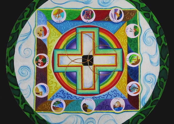 Sand Mandala Greeting Card featuring the painting Christian Sand Mandala by Jessica Jagerson