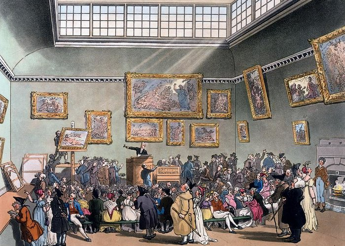 Christie's Auction Room Greeting Card featuring the drawing Christies Auction Room, Illustration by T. & Pugin, A.C. Rowlandson