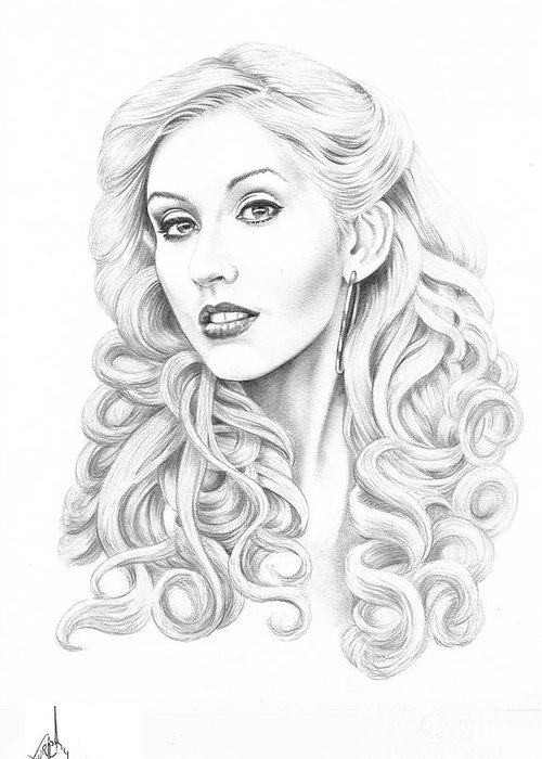 Pencil Greeting Card featuring the drawing Christina Aguilera by Murphy Elliott
