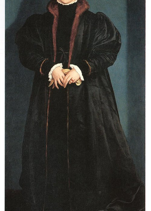 Hans Holbein The Younger Greeting Card featuring the painting Christina Of Denmark Duchess Of Milan by Hans Holbein the Younger