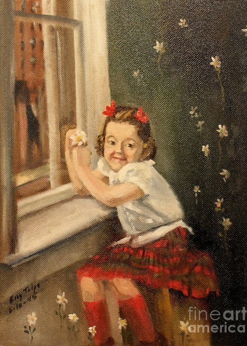 Christine Greeting Card featuring the painting Christine By The Window - 1945 by Art By Tolpo Collection