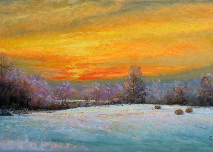 Winter Scene Greeting Card featuring the painting Christine's World by Christine Bass
