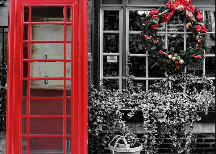 The Red Telephone Box Greeting Card featuring the photograph Christmas - The Red Telephone Box And Christmas Wreath IIi by Lee Dos Santos