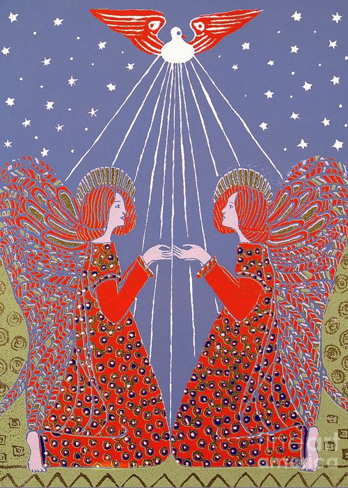 Angels Greeting Card featuring the painting Christmas 77 by Gillian Lawson