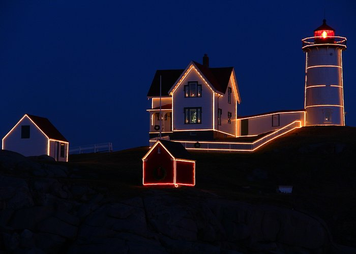Nubble Lighthouse Greeting Card featuring the photograph Christmas At Nubble by Andrea Galiffi