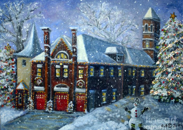 Waltham Greeting Card featuring the painting Christmas At The Fire House by Rita Brown