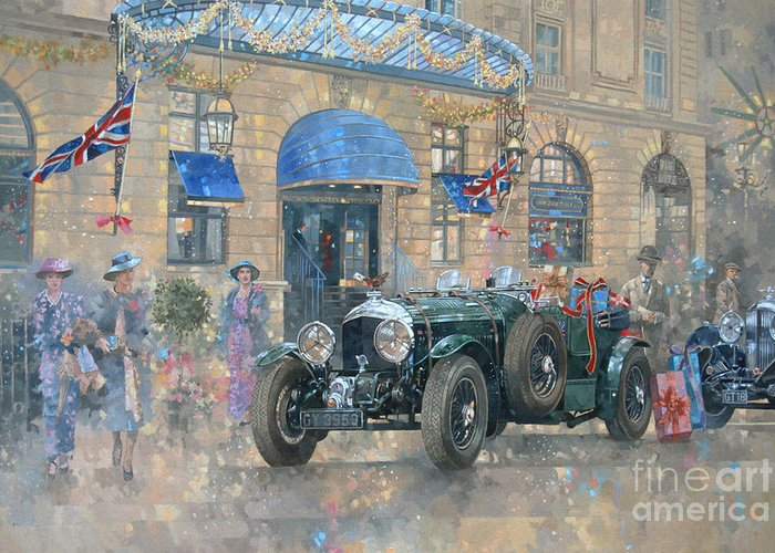 Rolls Royce Greeting Card featuring the painting Christmas At The Ritz by Peter Miller