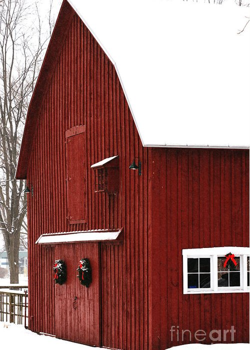 Christmas Greeting Card featuring the photograph Christmas Barn 2 by Linda Shafer