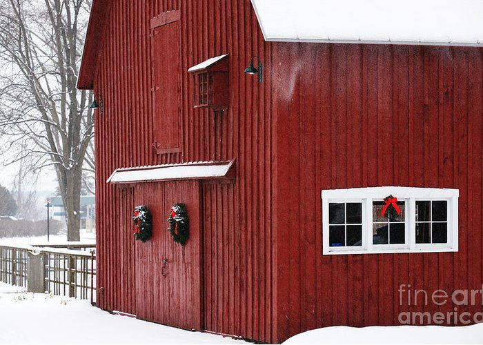 Christmas Greeting Card featuring the photograph Christmas Barn 3 by Linda Shafer