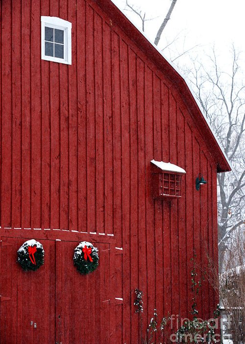Christmas Greeting Card featuring the photograph Christmas Barn 4 by Linda Shafer