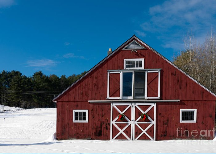 Christmas Greeting Card featuring the photograph Christmas Barn by Edward Fielding