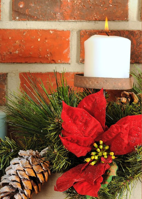 Christmas Greeting Card featuring the photograph Christmas Candle by Kenneth Sponsler
