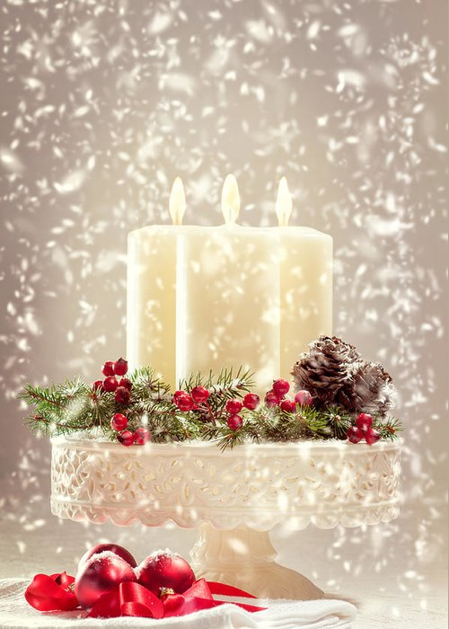 Christmas Greeting Card featuring the photograph Christmas Candles by Amanda Elwell
