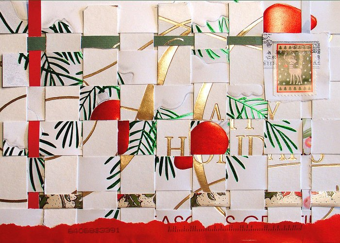 Christmas Greeting Card featuring the mixed media Christmas Card Abstract by Steve Karol