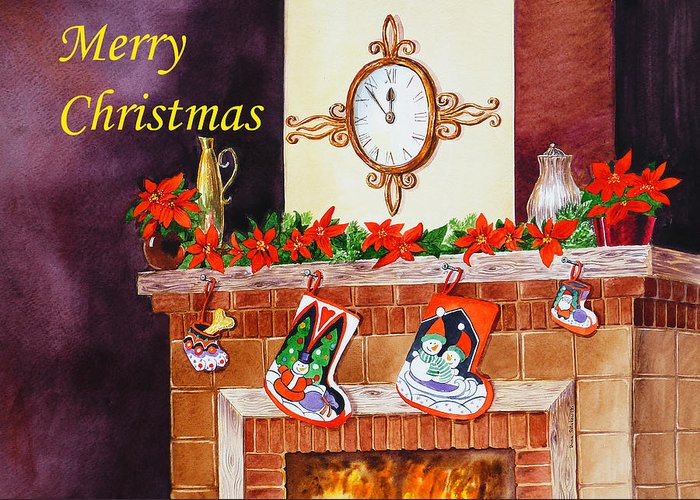 Christmas Greeting Card featuring the painting Christmas Card by Irina Sztukowski
