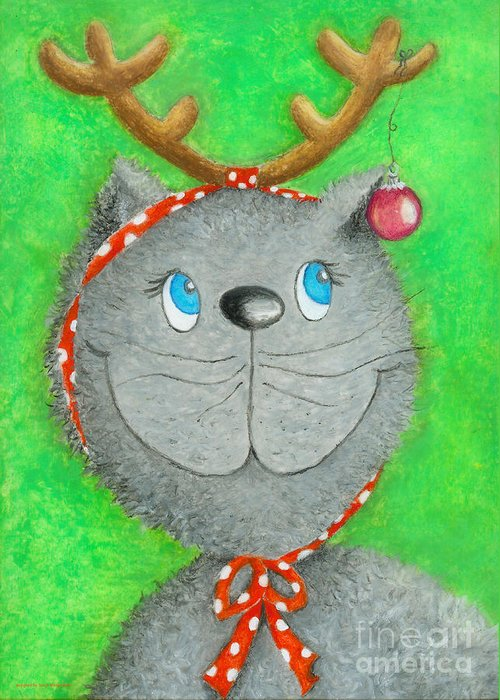 Christmas Cat Greeting Card featuring the painting Christmas Cat by Sonja Mengkowski