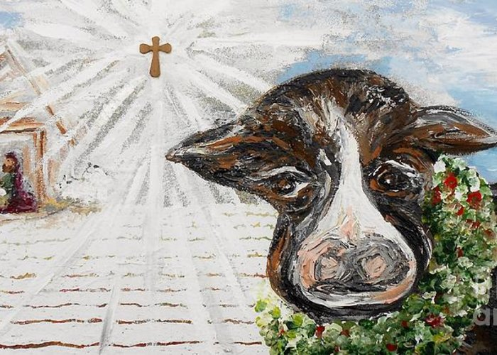 Christ Greeting Card featuring the painting Christmas Cow - Oh To Have Been There... by Eloise Schneider