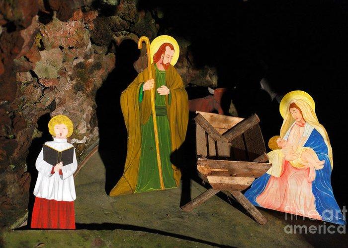 Christmas Greeting Card featuring the photograph Christmas Crib Scene by Gaspar Avila