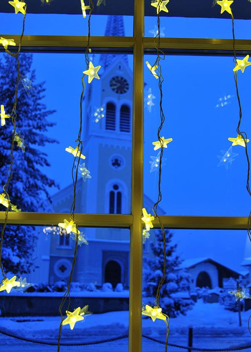 Christmas Greeting Card featuring the photograph Christmas Decoration - Yellow Stars And Blue Church by Matthias Hauser