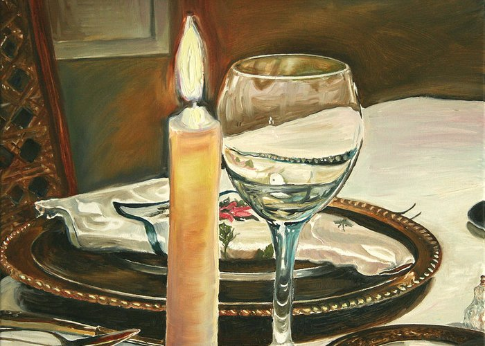 Still Life Greeting Card featuring the painting Christmas Dinner With Place Setting by Jennifer Lycke