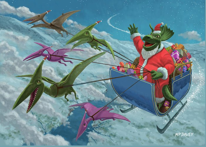Christmas Greeting Card featuring the painting Christmas Dinosaur Santa Ride by Martin Davey