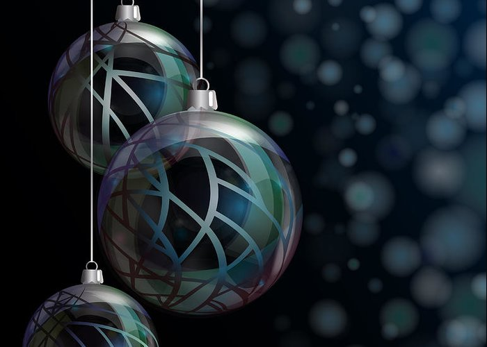 Abstract Greeting Card featuring the photograph Christmas Elegant Glass Baubles by Jane Rix