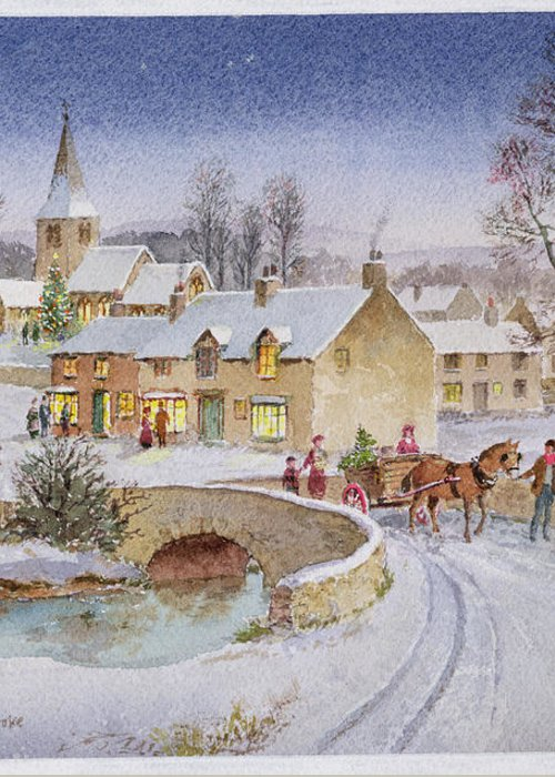 Rural; Snow; Winter; Horse And Cart; Tree; Evening; Bridge; Cross; Christmas Greeting Card featuring the painting Christmas Eve In The Village by Stanley Cooke