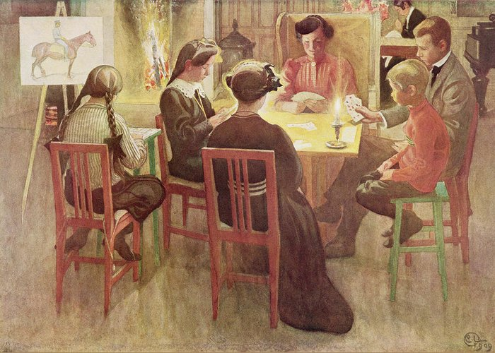 Candle Greeting Card featuring the painting Christmas Holidays, Pub. In Lasst Licht by Carl Larsson