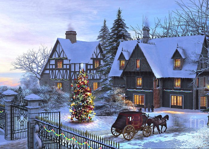 Cottage Greeting Card featuring the painting Christmas Homecoming by Dominic Davison