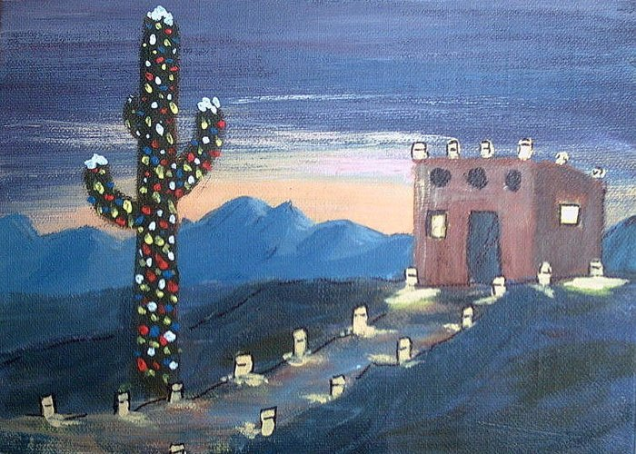 Christmas Greeting Card featuring the mixed media Christmas In Az by Judi Pence